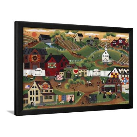 Amish Quilt Village Framed Print Wall Art By Cheryl Bartley ...