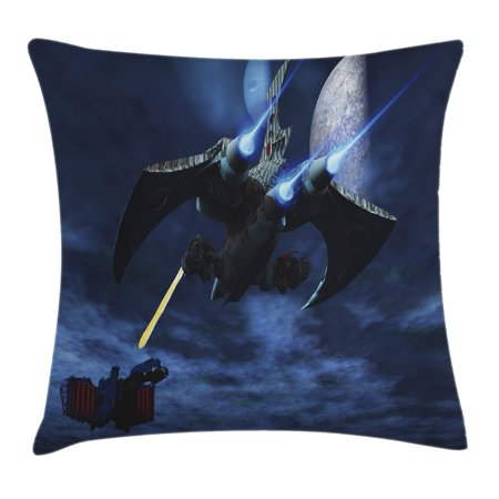 Galaxy Throw Pillow Cushion Cover, A Lighter and Spaceship Blasts a Laser Beam an Enemy Battleship Galaxy Wars Pattern, Decorative Square Accent Pillow Case, 16 X 16 Inches, Blue Black, by Ambesonne