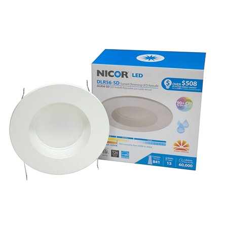 - NICOR Lighting 5/6-Inch Sunset Dimming LED Downlight Retrofit Kit for Recessed Housings, White Baffle Trim (DLR56-SD-1007-WH-BF)