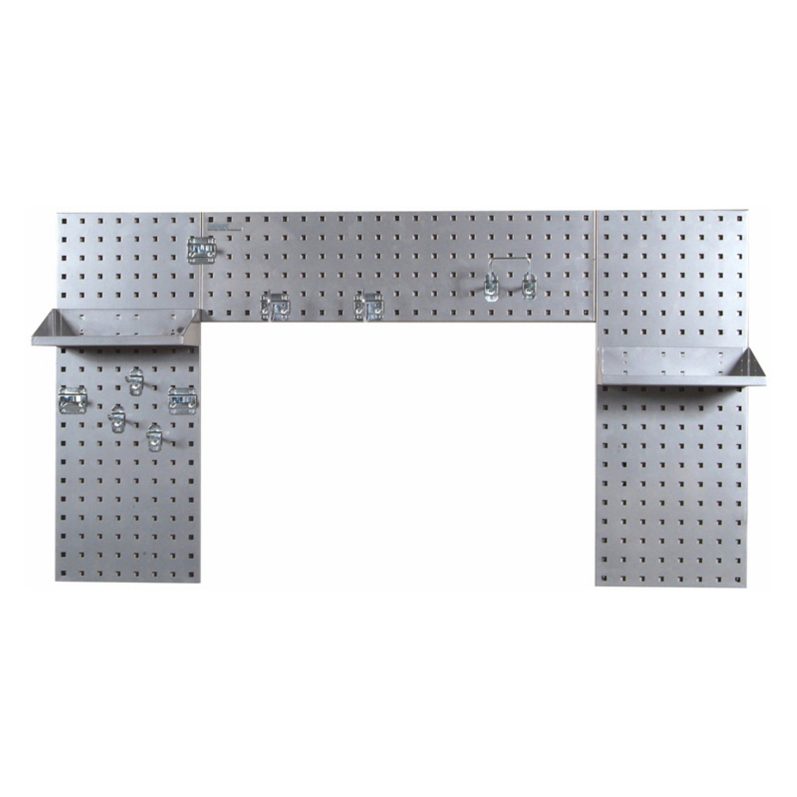 Silver Laundry Room Organizer Kit with (3) 18 Gauge Steel Square Hole Pegboard, (2) Steel Shelves and 9 pc. LocHook Assortment