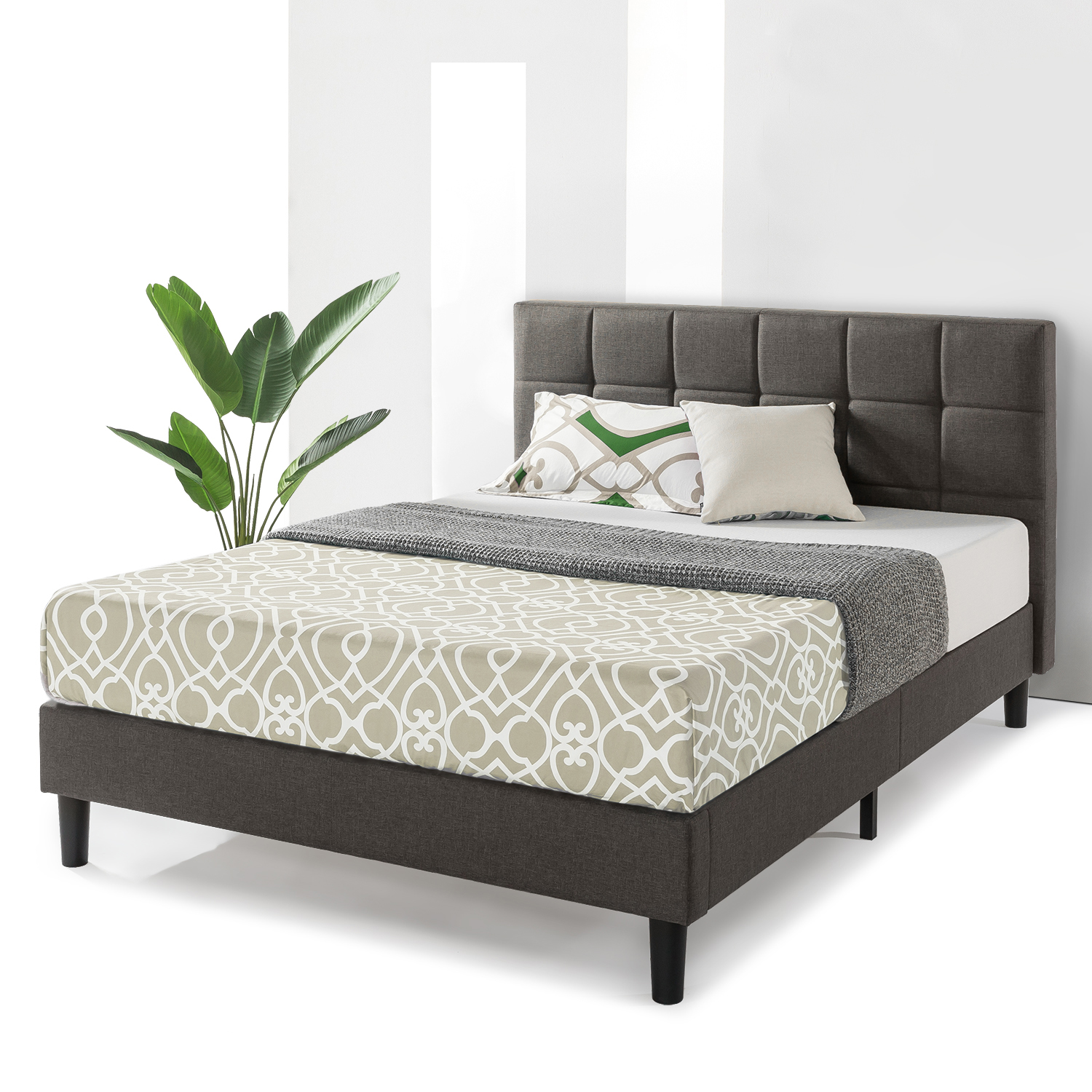 Best Price Mattress Zoe Upholstered Platform Beds With Tufted Headboard And  Wooden Slats Support