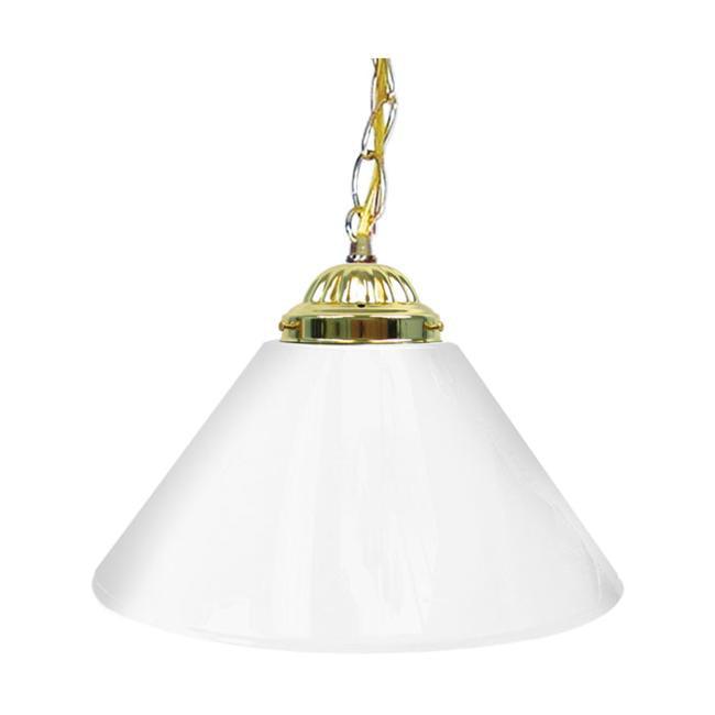 Plain White 14 Inch Single Shade Bar Lamp - Brass hardware