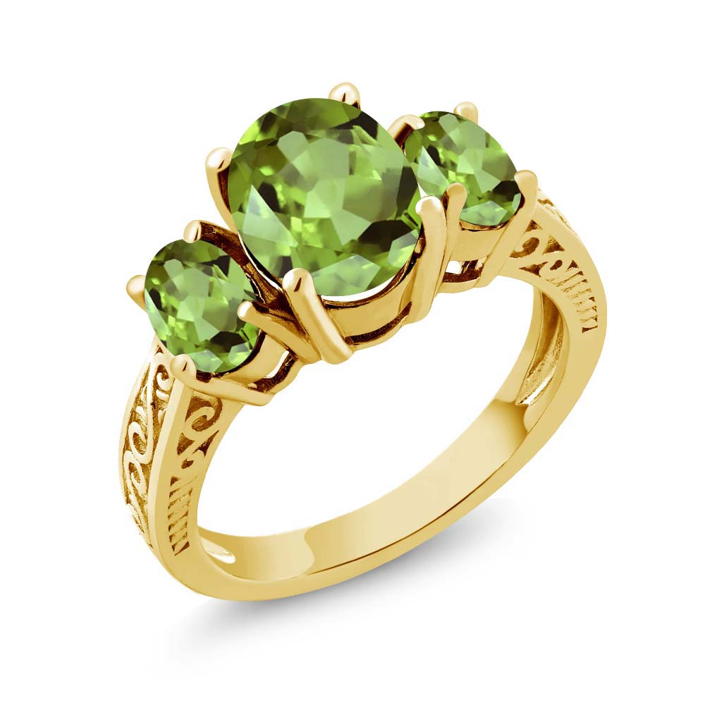 2.35 Ct Oval Green VS Peridot 925 Yellow Gold Plated Silver 3-Stone Ring