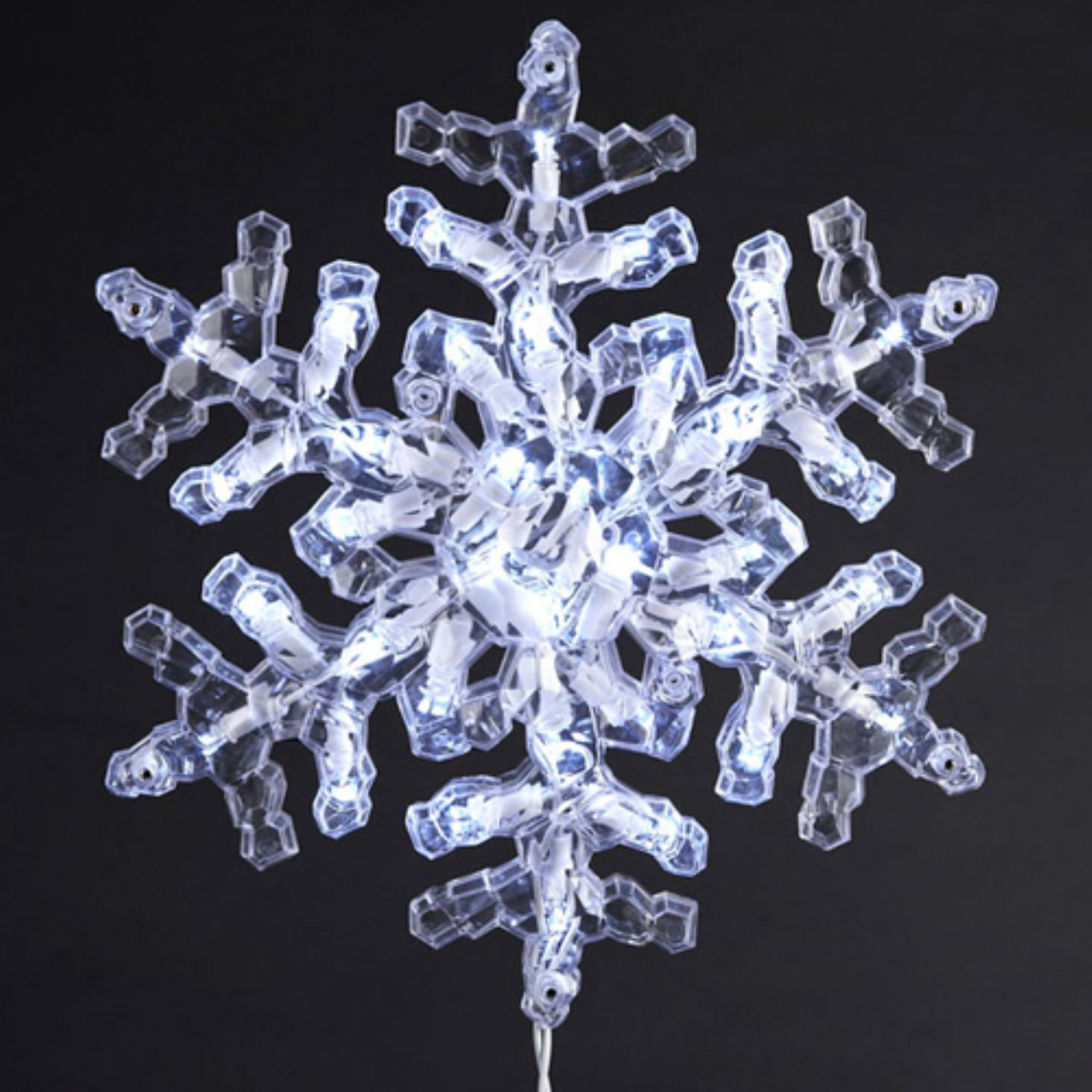 """Kurt Adler UL 35-Light 12"""" Clear Crystal Snowflake with Cool White LED Indoor/Outdoor Light Set"""