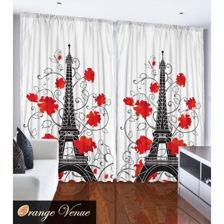 Eiffel Tower Paris City Decor Bedroom Accessories French Style Curtain 2 Panels