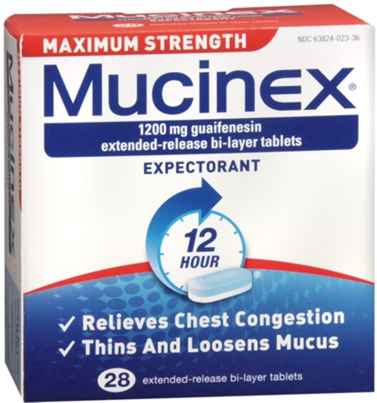 Mucinex Expectorant Extended-Release Tablets Maximum Strength 28 Tablets (Pack of 2)