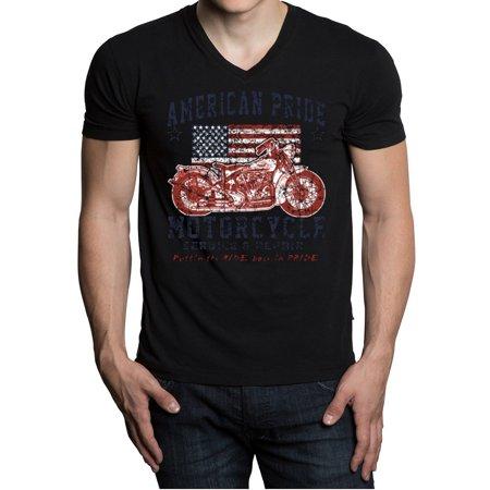 Men's American Pride Motorcycle Black V-Neck T-Shirt Medium Black
