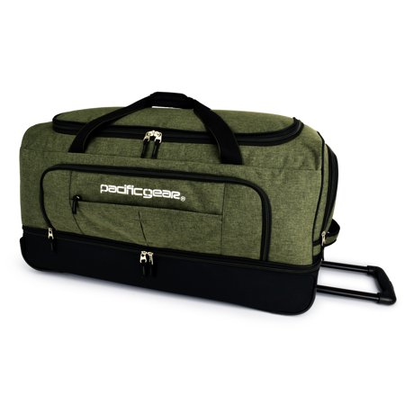 "Pacific Gear Keystone 30"" Drop-Bottom Rolling Duffel Bag, Olive"
