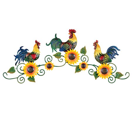 Roosters Trio on Scrolling Vine Metal Wall Art Decor - Walmart.com