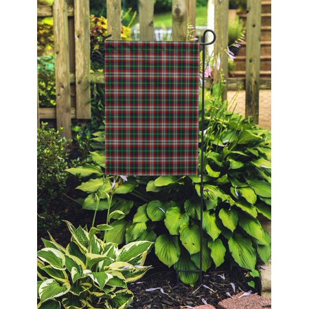POGLIP Green Ancient Patterned of The Clan Lindsay Hunting Tartan Red Garden Flag Decorative Flag House Banner 12x18 inch - image 1 de 2
