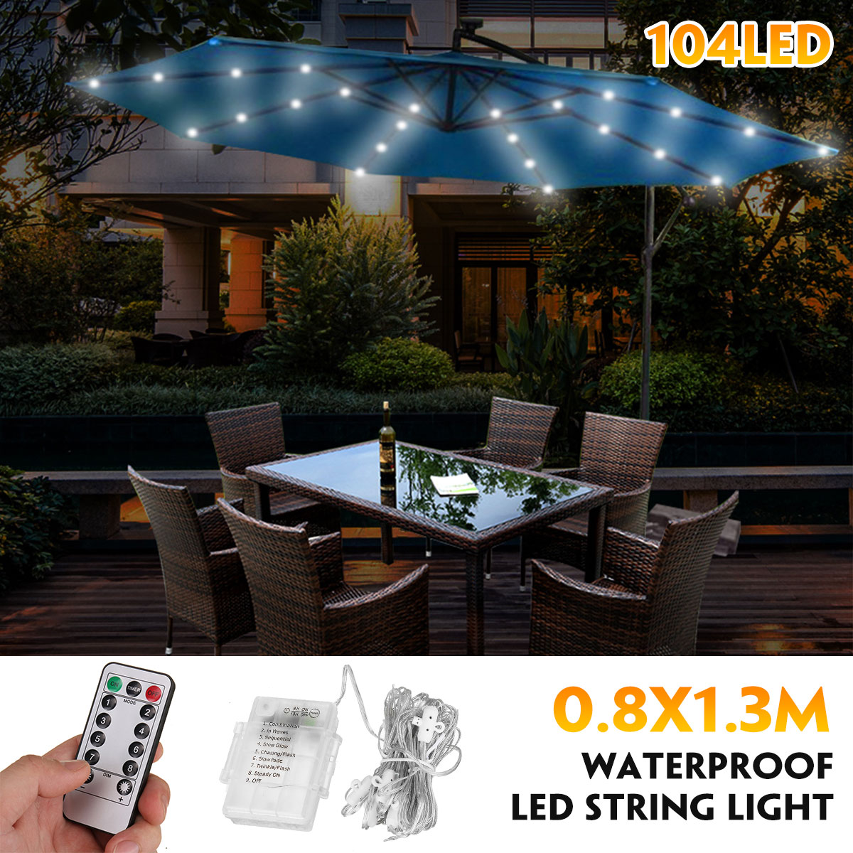104 LED Umbrella Lights Fairy Patio Parasol Outdoor Garden Remote Control Xmas