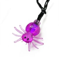 Northlight 10ct Spider LED Halloween String Lights Black Wire - 4.75' Purple