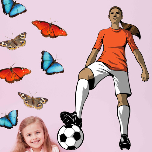 Wallhogs Winn Soccer Girl Cutout Wall Decal