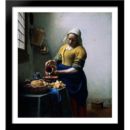 The Kitchen Maid 28x30 Large Black Wood Framed Print Art by Johannes Vermeer