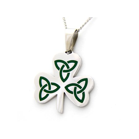 Three Leaf Clover Celtic Design Pendant Stainless Steel (Stainless Steel Celtic Design)