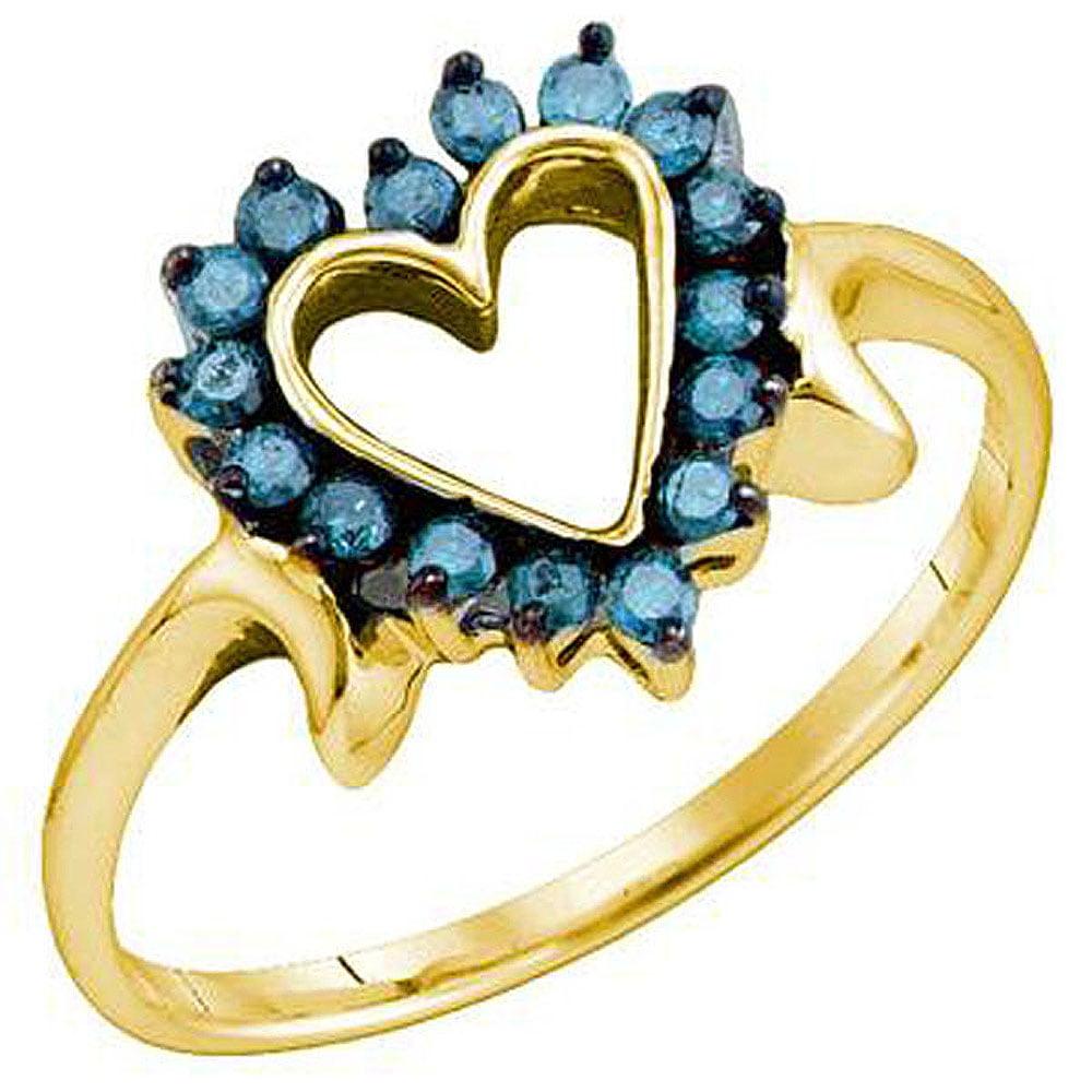 0.25 Carat (ctw) 10k Yellow Gold Blue Diamond Ladies Heart Promise Ring
