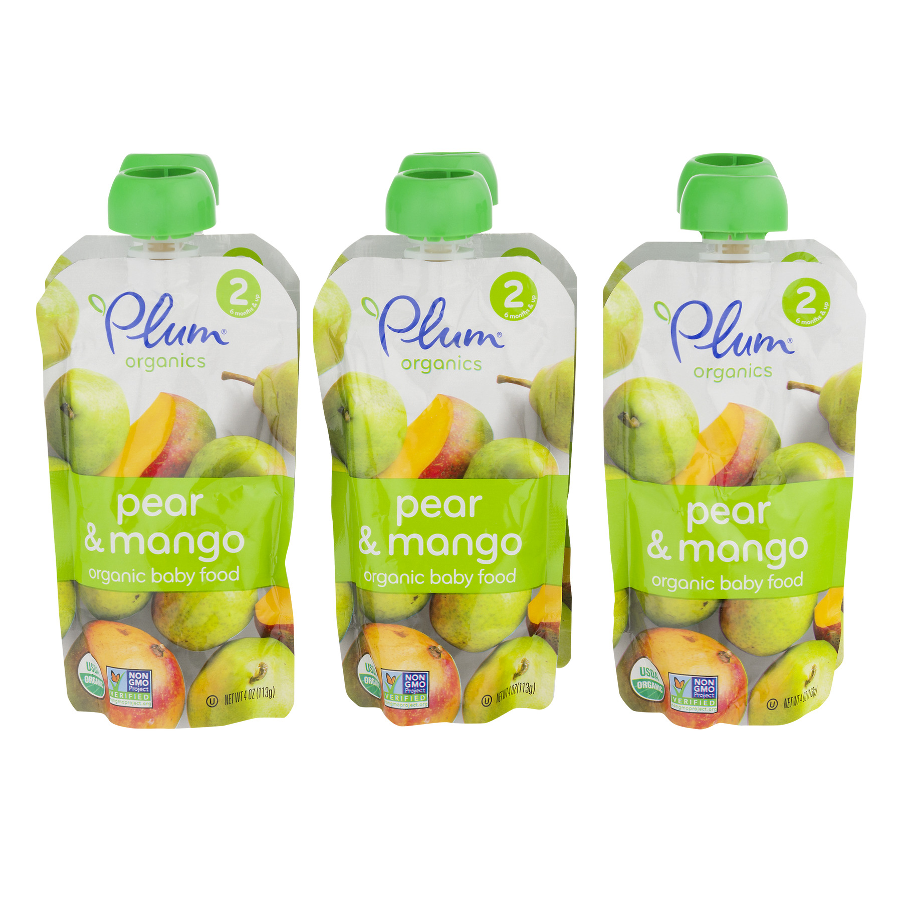 Stage 2 Plum Organics Pear & Mango 6PK