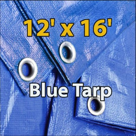12'x16' Blue Waterproof Poly Tarp for Camping Hiking Backpacking Tent Shelter Shade Canopy Etc. by Supplied with built in grommets to allow for secure tie downs By Super