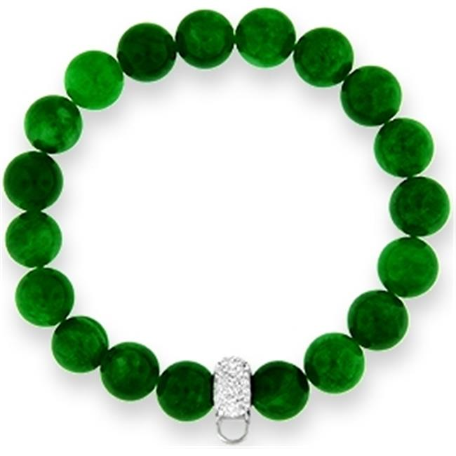 Doma Jewellery MAS00224 Bracelet with Crystal Charm Enhancer - 10mm  Green Agate Beads