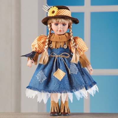 Porcelain Doll Makeup For Halloween (Collections Etc Women's Scarecrow Girl Porcelain Doll With)