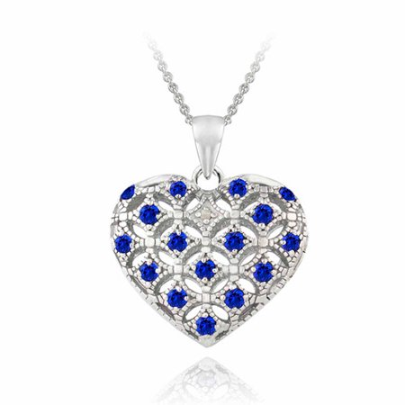 Created blue sapphire and diamond accent sterling silver heart created blue sapphire and diamond accent sterling silver heart locket necklace aloadofball Image collections