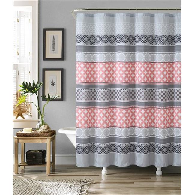 luxury home hawthorne faux silk shower curtain set, grey & coral