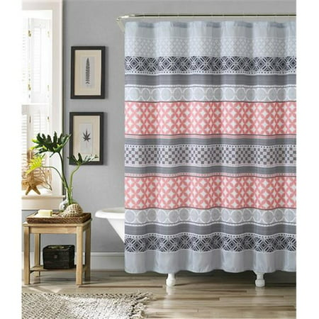 Luxury Home Hawthorne Faux Silk Shower Curtain Set, Grey & Coral ...