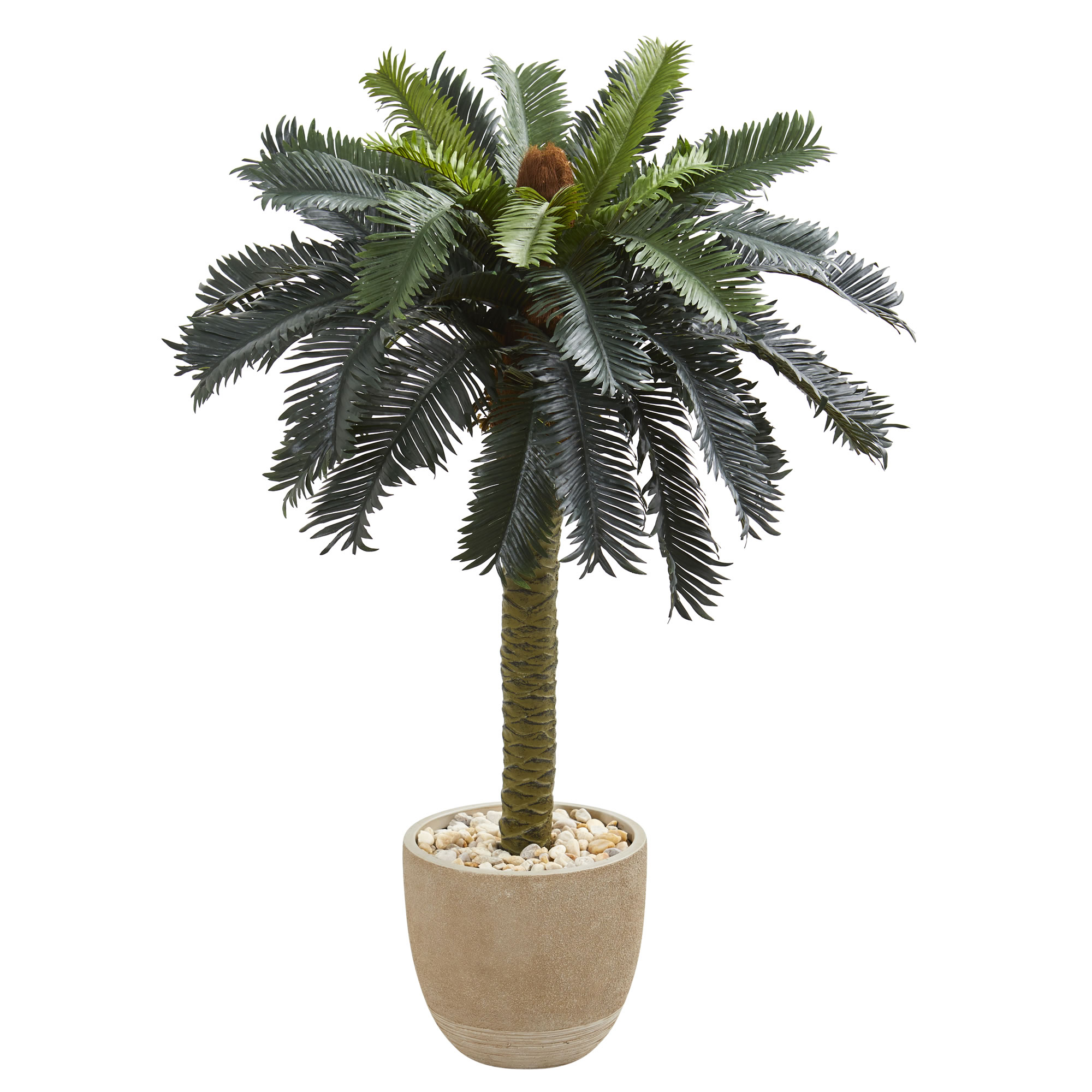 Nearly Natural 3.5' Sago Palm Artificial Tree in Sandstone Planter