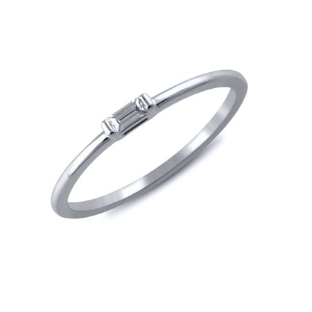 1/20 cttw Diamond Baguette Ring (VS clarity, G-H color) in 14k White Gold ()