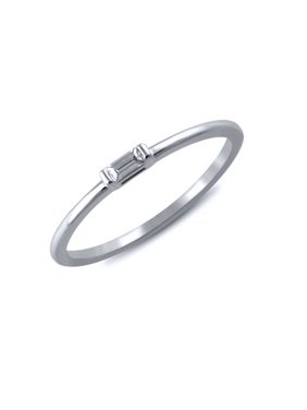 1/20 cttw Diamond Baguette Ring (VS clarity, G-H color) in 14k White Gold