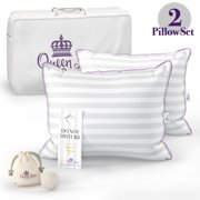 Set of Two Queen Size Pillows for Sleeping, Bed Pillows 2 Pack - Luxury Hotel Quality Pillow, Down Alternative Hypoallergenic Pillows for Back, Stomach, and Side Sleepers (Queen Firm)