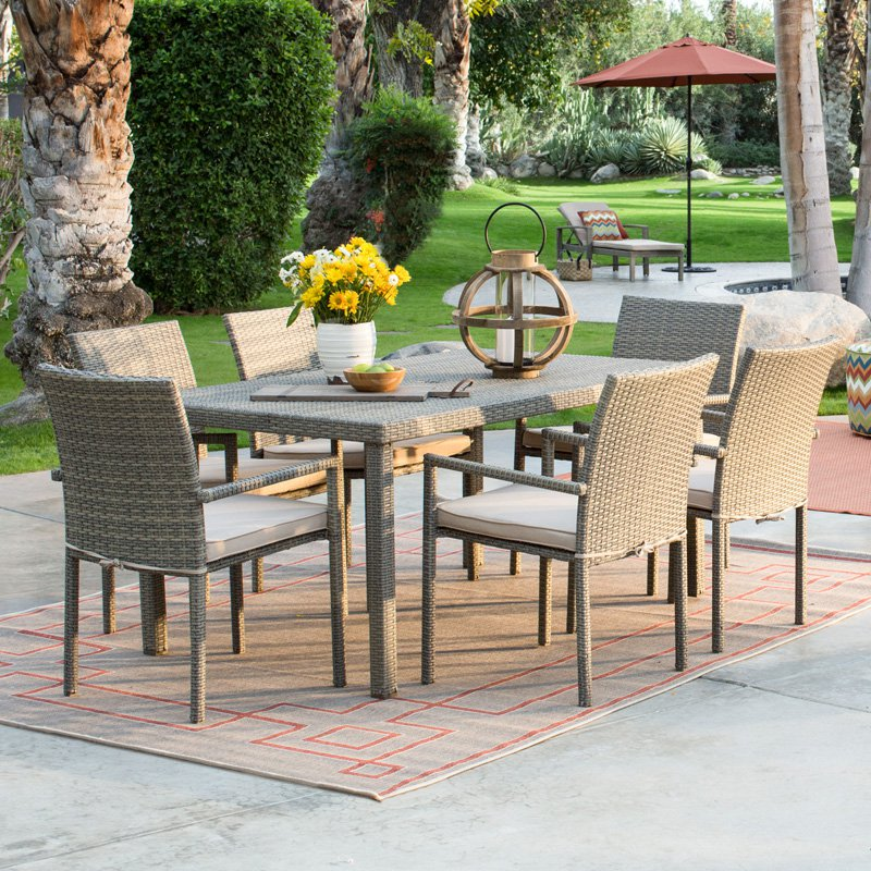 Coral Coast South Isle All Weather Wicker Natural Patio Dining Set