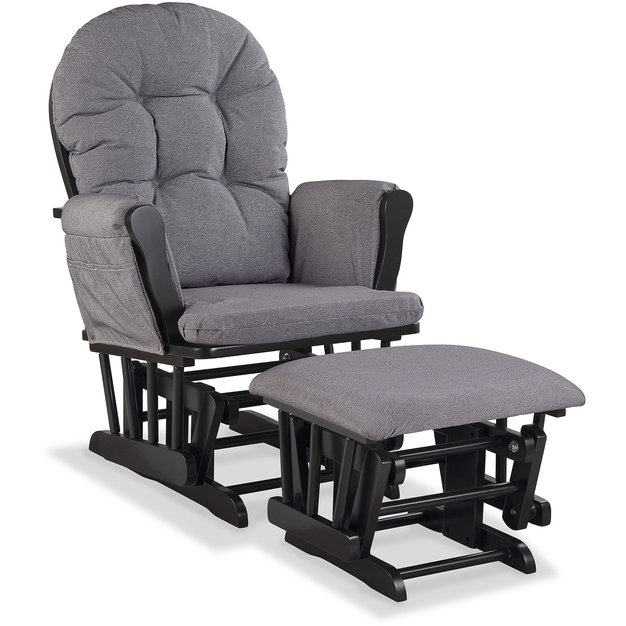 Storkcraft Hoop Custom Glider and Ottoman, Slate Gray Swirl Cushions, (Choose your Finish)