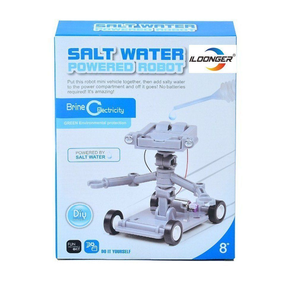 Salt Water Powered Robot Kit Brine Electricity Green Energy Science Recycle Toy