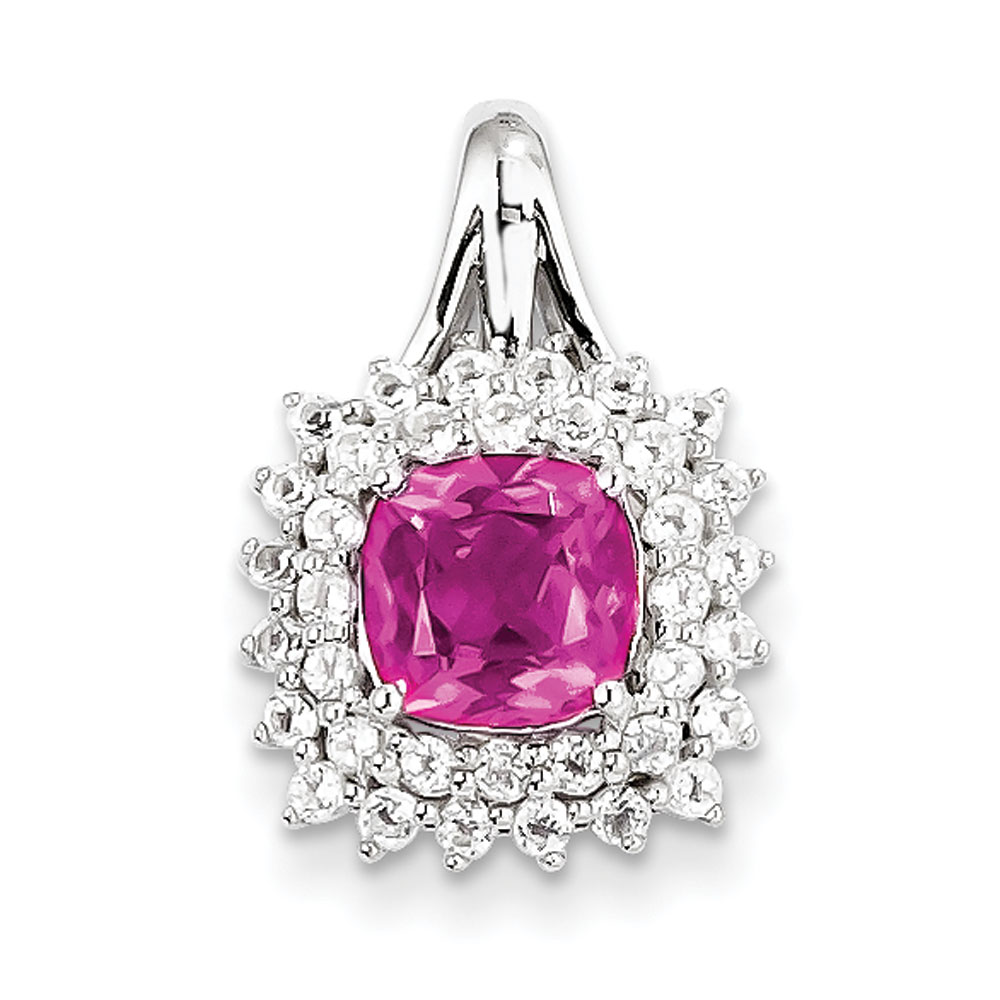 Sterling Silver White Topaz and Pink Tourmaline Square Pendant 1.90 cwt by