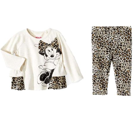 Disney Infant Girls Minnie Mouse Leopard Print Baby Outfit Shirt & Leggings](Baby Minnie Mouse Outfit)