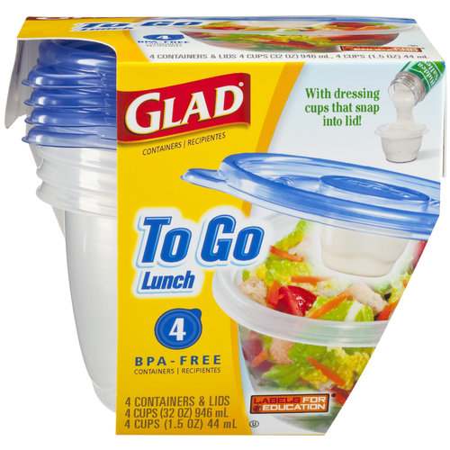 Glad To Go Lunch Containers, 4pk