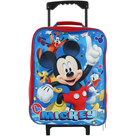 Size one size Kids' Mickey Mouse Rolling Luggage, Blue (Disney Frozen Rolling Luggage)