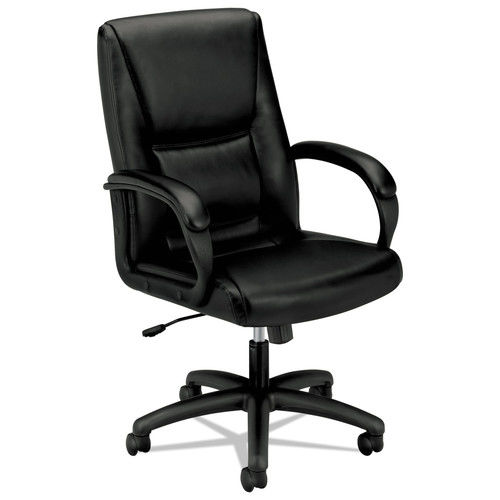 basyx VL161 Series Executive Mid-Back Chair, Black Leather