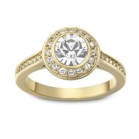 Crystal Solitaire Ring ANGELIC Gold Plated #1081948 (XLarge/60/9)