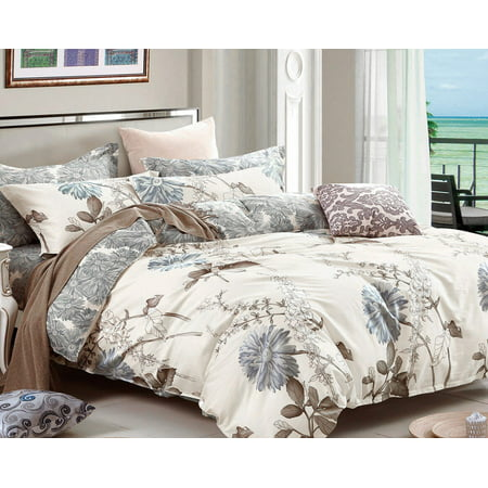 Lio Duvet Covers - Swanson Beddings Daisy Silhouette Floral Print 3-Piece 100% Cotton Bedding Set: Duvet Cover and Two Pillow Shams (King)