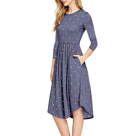 Women 3/4 Sleeve Polka Dot Casual Dress Floral Print Pleated Loose Swing Midi Dress with Pocket (Painted Dresses)