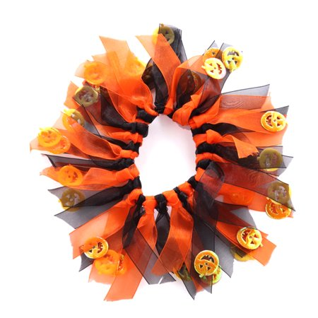 Small Fancy Dog Collars Decorative Elastic Pet Soft Collars for Party Holiday Dress Costume Size M (Orange and Black)