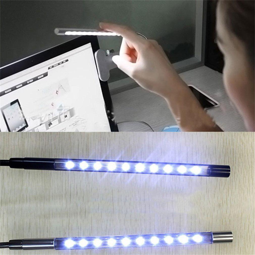 Clip-on 10 LED USB Light Flexible Gooseneck Reading Touch Desk Table Lamp by
