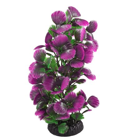 Unique Bargains Unique Bargains Round Ceramic Base Fish Tank Decoration Ornament Plant Purple Green