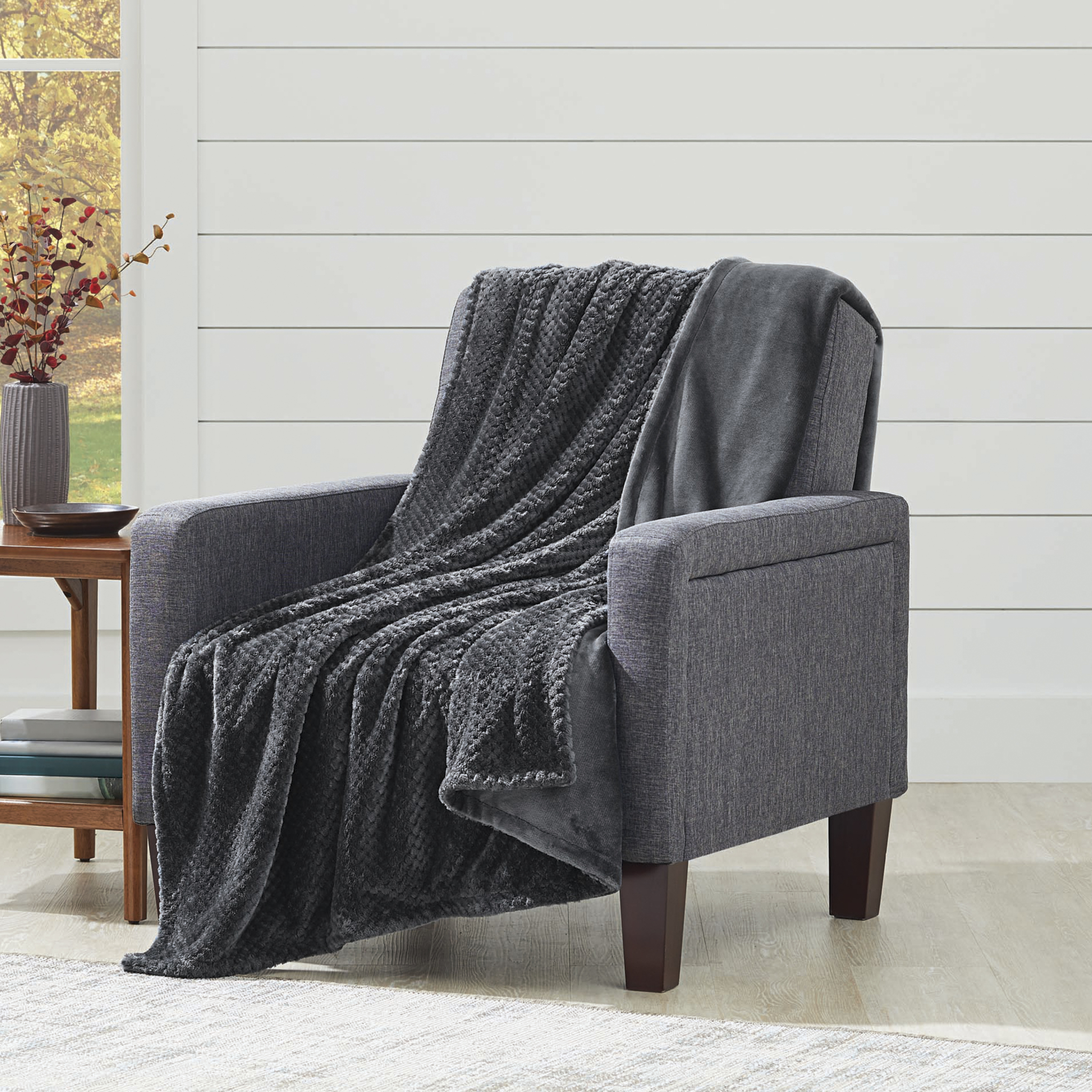 Better Homes and Gardens Oversize Reversible Velvet Plush Throw Blanket
