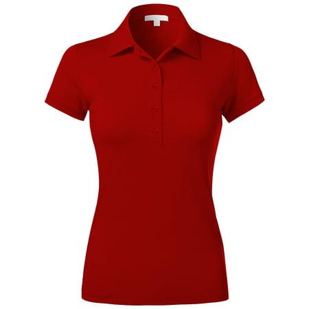 Ma Croix Womens Premium Longline Polo Tee 5 Button Short Sleeve Tennis - Premium Quality Ladies Short