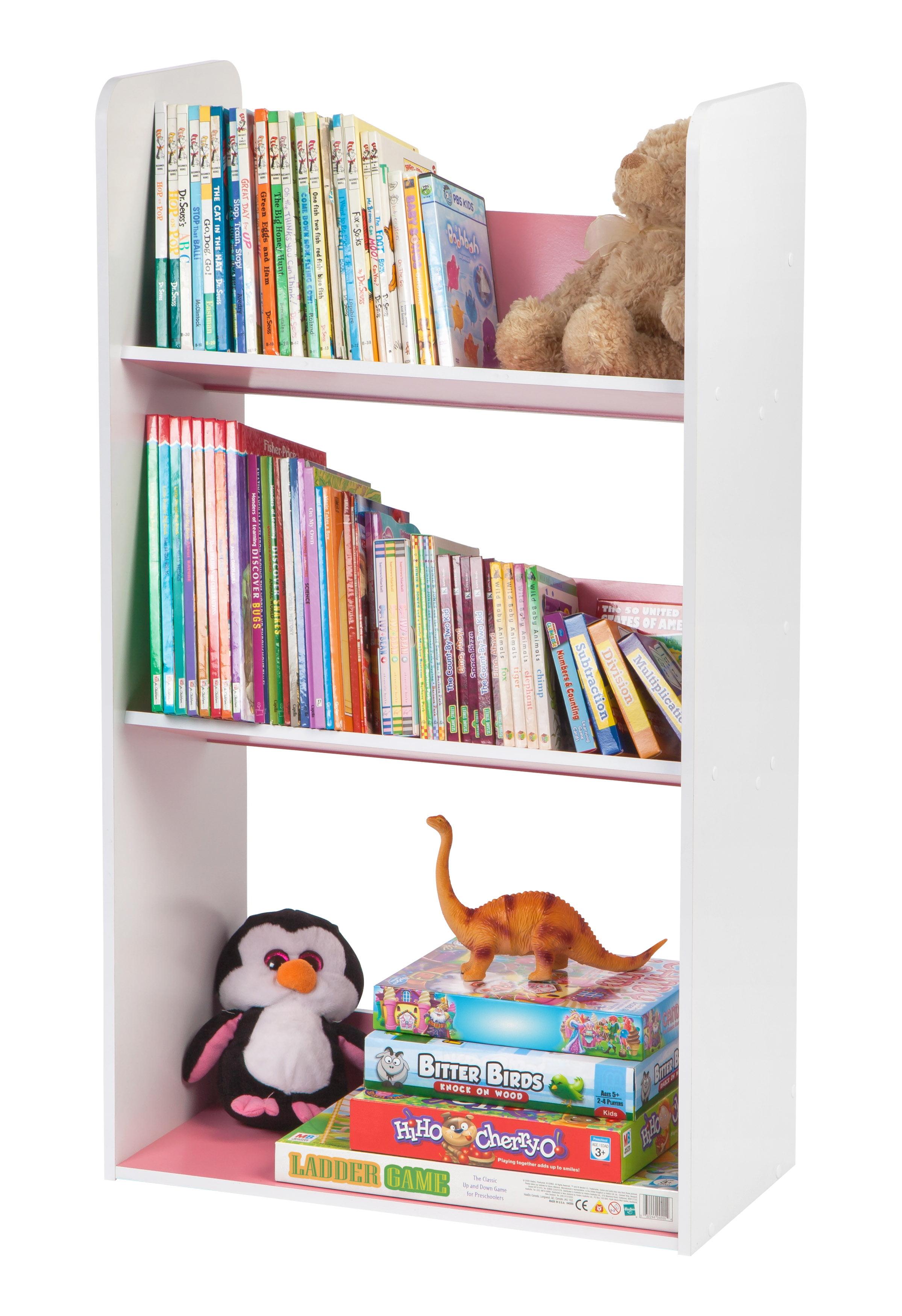 iris usa 3 tier tilted kids bookshelf pink or blue. Black Bedroom Furniture Sets. Home Design Ideas