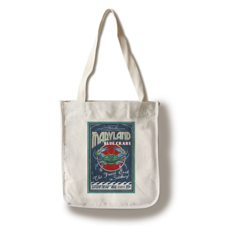 Salisbury, Maryland - Blue Crabs Vintage Sign - Lantern Press Artwork (100% Cotton Tote Bag - Reusable) - Party City Salisbury Maryland