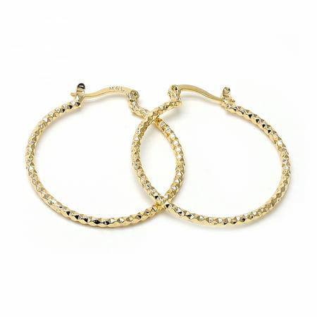 Gold-Tone Ladies Circle Diamond Cut Design and Medium Hoop Earrings (30mm x - Diamond Cut Circle Earrings